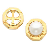 Button Earring for Mabe Pearl