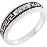 Accented Greek Key Engagement Ring or Band