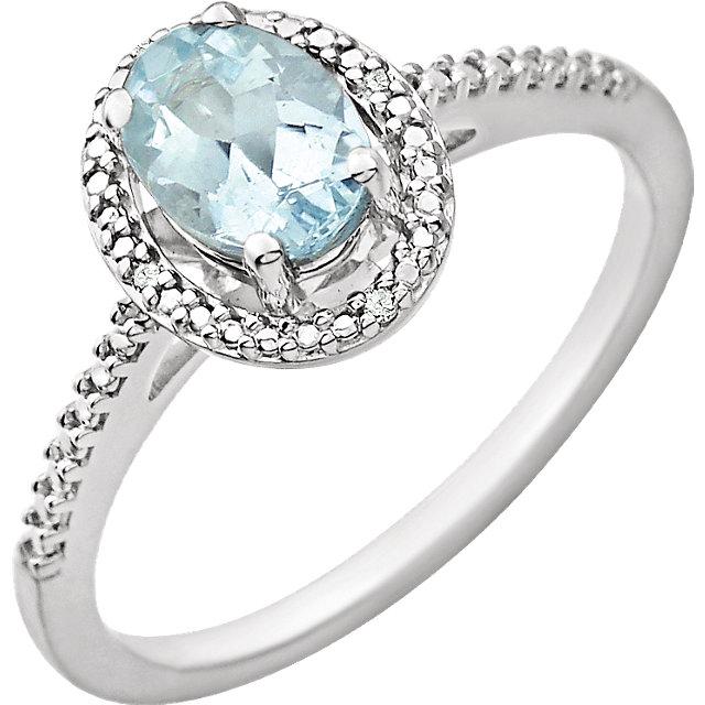 Sterling Silver Aquamarine & .01 CTW Diamond Ring