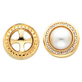 Halo-Style Mabe Pearl Earrings