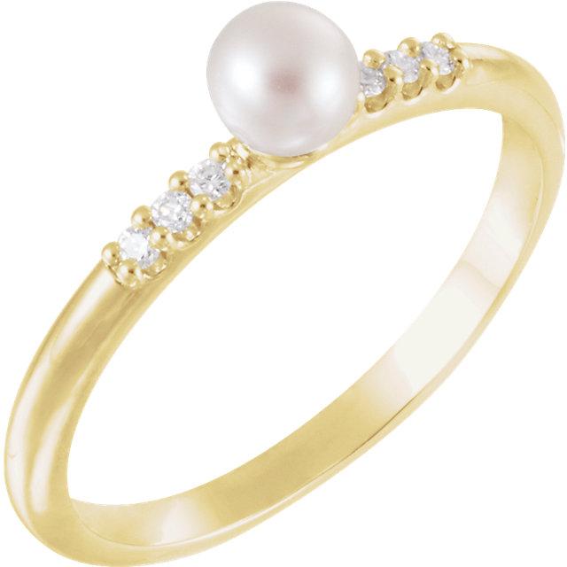 14K Yellow Freshwater Cultured Pearl & .05 CTW Diamond Ring