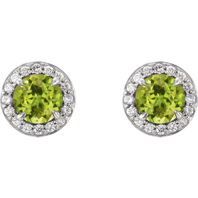 14K White Round Peridot & 1/8 CTW Diamond Earrings