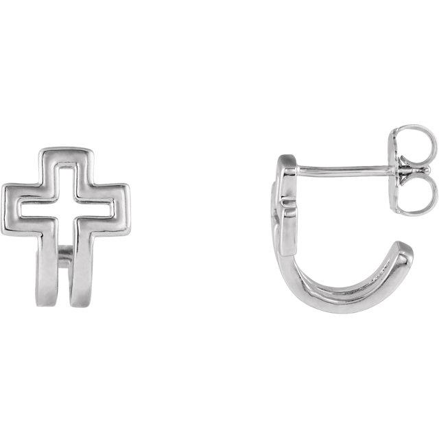 Sterling Silver Open Cross J-Hoop Earrings
