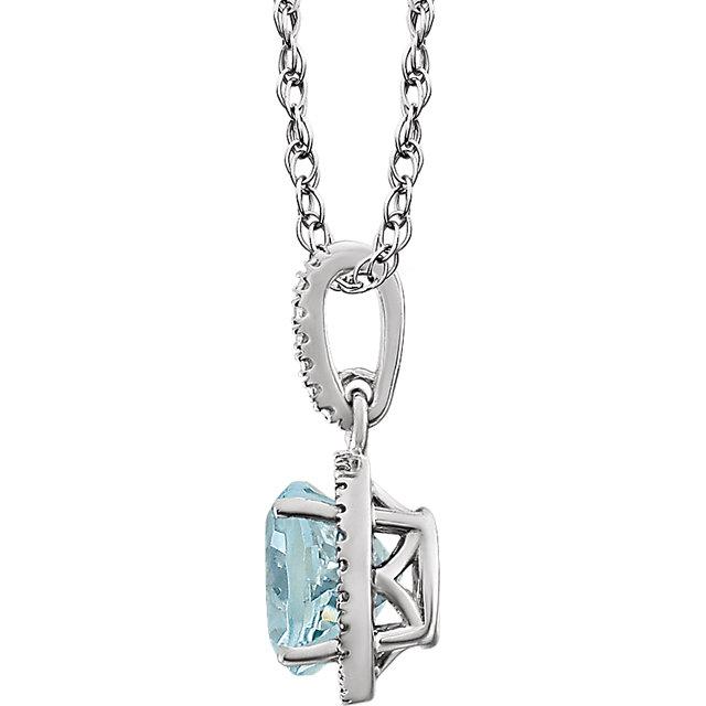 Sterling Silver Aquamarine & .01 CTW Diamond 18