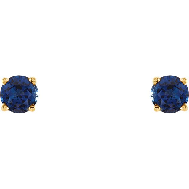 14K Yellow 5 mm Round Blue Sapphire Earrings