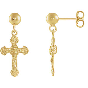 14K Yellow 13x9mm Crucifix Ball Dangle Earrings