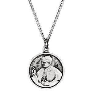 Sterling Silver 17mm Round Pope John Paul II 18