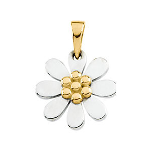 Pendant, 10K White & Yellow Floral-Inspired Pendant