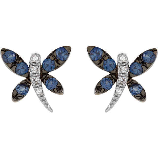 14K White Blue Sapphire & .04 CTW Diamond Dragonfly Earrings