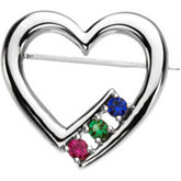 Accented Heart-Shaped Brooch