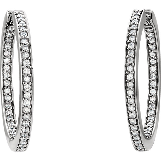 14K White 3/8 CTW Diamond Inside/Outside Hoop Earrings