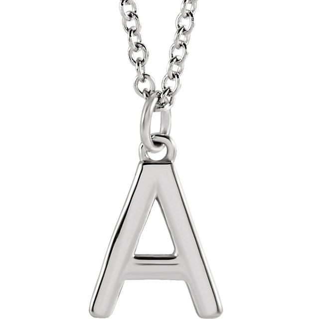 Sterling Silver Initial A Dangle 18