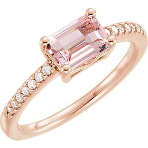 Fashion Rings , 14K Rose Morganite & 1/10 CTW Diamond Ring