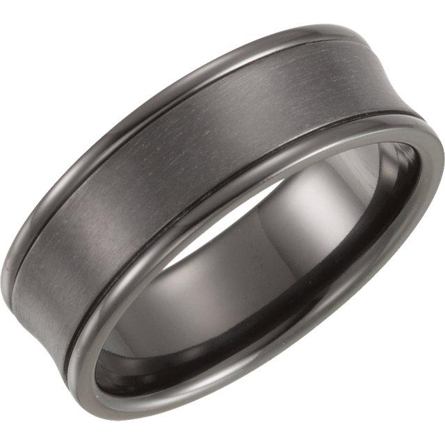 Black Titanium 7mm Concave Band Size 8