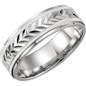 Sterling Silver & 10K White 7mm Comfort-Fit Band Size 8