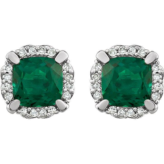 14K White Created Emerald & 1/10 CTW Diamond Earrings