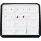 12 Pair Stud Earring / Pendant / Charm Stackable Tray, Black with White Pads