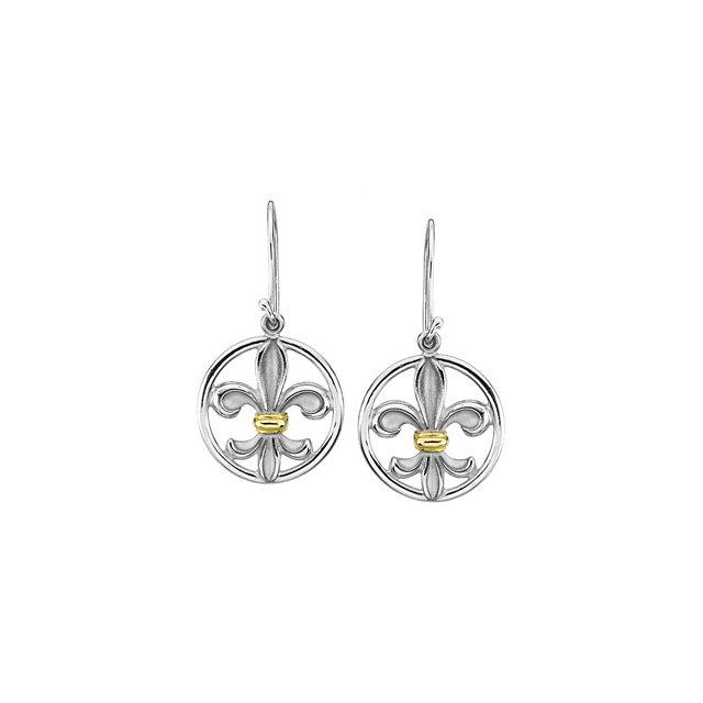 Sterling Silver & 14K Yellow Fleur-de-lis Earring