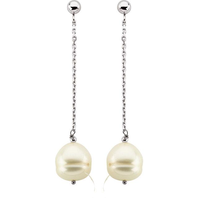 14K White 9-11 mm Freshwater Cultured Pearl Dangle Earrings