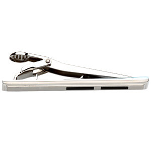 Stainless Steel & Black Enameled Tie Bar