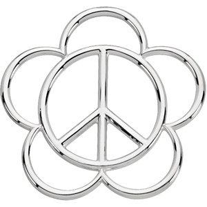 Pendant, 14K White Peace Sign Pendant