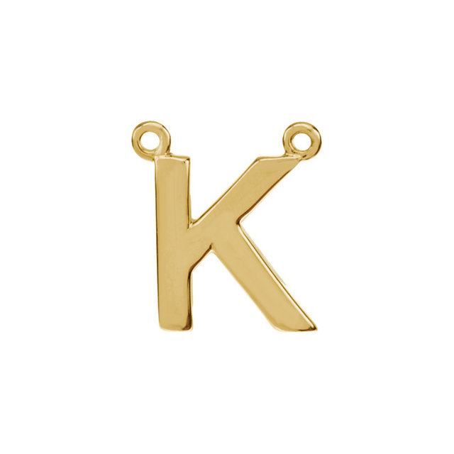 14K Yellow Block Initial K Necklace Center