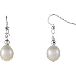 Sterling Silver 10-11mm Freshwater Cultured Pearl Dangle Earrings