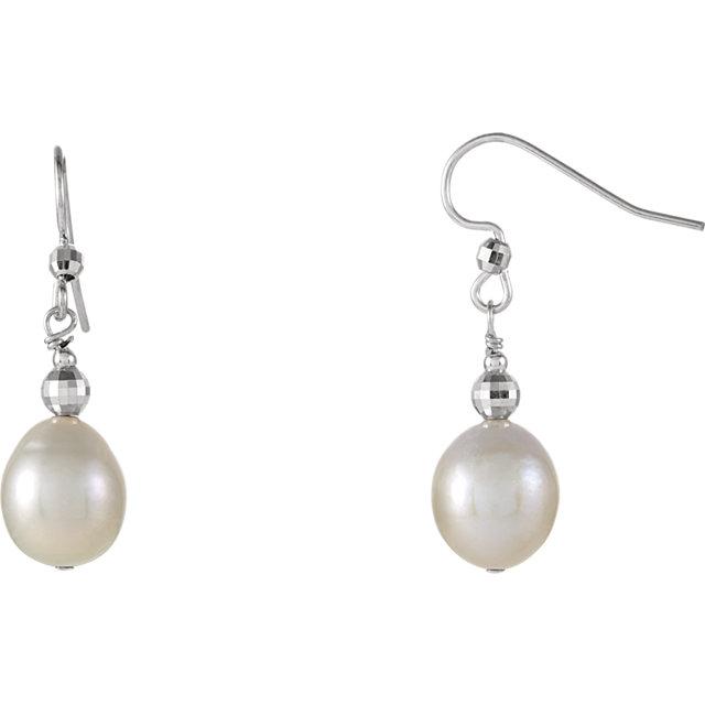 Sterling Silver 10-11mm Freshwater Cultured Pearl Dangle Earrings