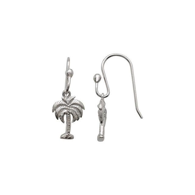 Sterling Silver 13.89x9.16mm Palm Tree Earrings