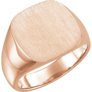 Fashion Rings , 14K Rose 16mm Men's Solid Signet Ring
