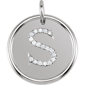 Sterling Silver 1/10 CTW Diamond Initial