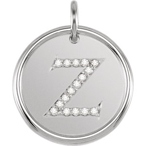 Pendant, Sterling Silver .08 CTW Diamond Initial