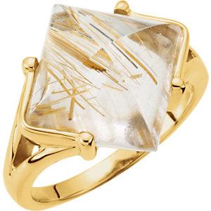 Fashion Rings , 14K White Rutilated Quartz Ring