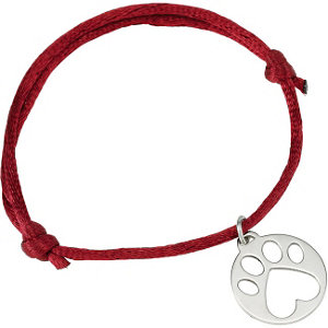 Sterling Silver Red Satin Cord Adjustable Bracelet with Paw Charm