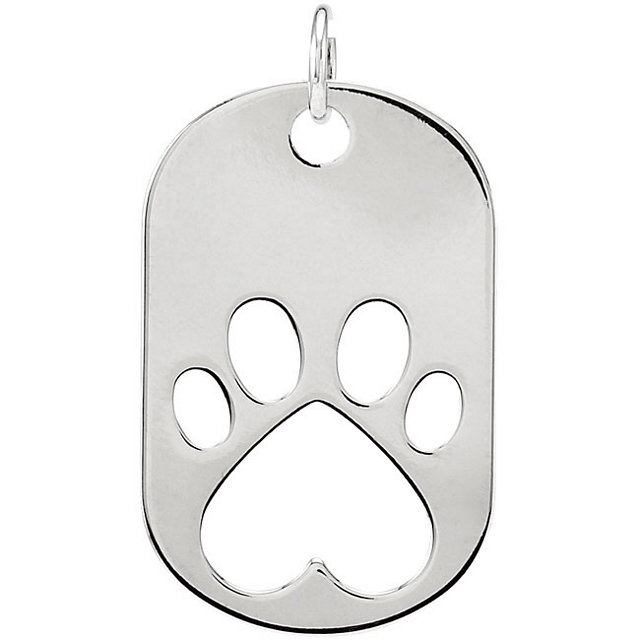 Sterling Silver Our Cause for Paws™ Dog Tag Pendant