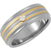 Spexton™ 8 mm Diamond Two Tone Bezel Ridged Band