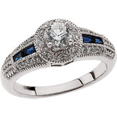 Baguette Accented Halo-Style Engagement Ring or Band