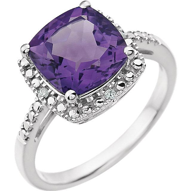 14K White Amethyst & .03 CTW Diamond Ring