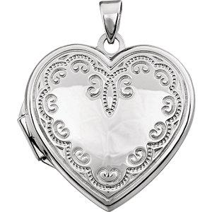 14K White Heart Locket with Scroll Design