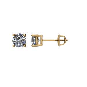 Earrings , 14K Yellow 3/4 CT Diamond Threaded Post Stud Earrings
