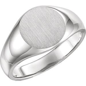 Fashion Rings , 18K X1 White 13mm Men's Signet Ring