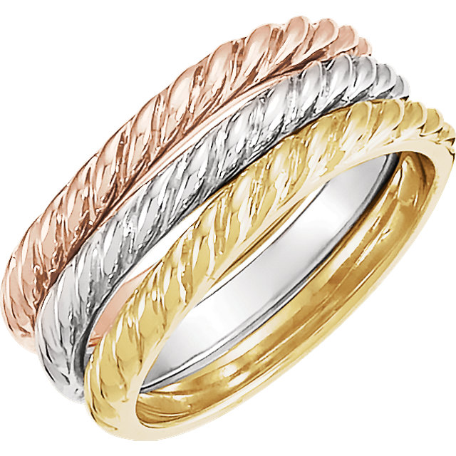 14K Yellow Rope Design Stackable Band