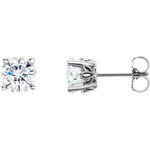 e15124830 14K White 6.5 mm Round Forever One™ Moissanite Earrings   Stuller