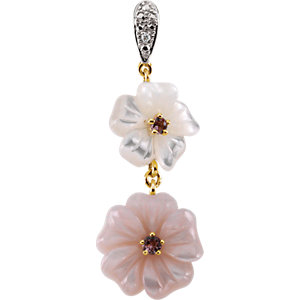 Pink Tourmaline, Mother Of Pearl & Diamond Floral-Inspired Pendant