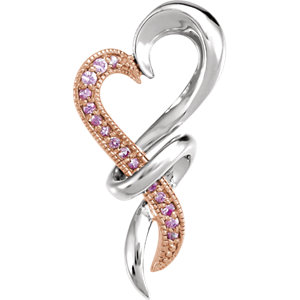 Sterling Silver with Rose Rhodium-Plating Pink Sapphire Heart Pendant