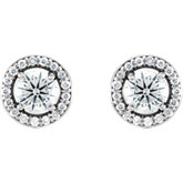 Charles & Colvard Moissanite® & Diamond Accented Halo-Style Earrings