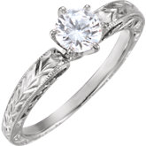 6-Prong Hand-Engraved Solitiare Engagement Ring or Band