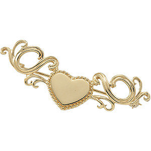 Brooche, Pin , 14K Yellow 21x18mm Heart Brooch