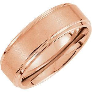 Rose Tungsten 8mm Satin Finished Ridged Band with Rounded Edge Size 11.5