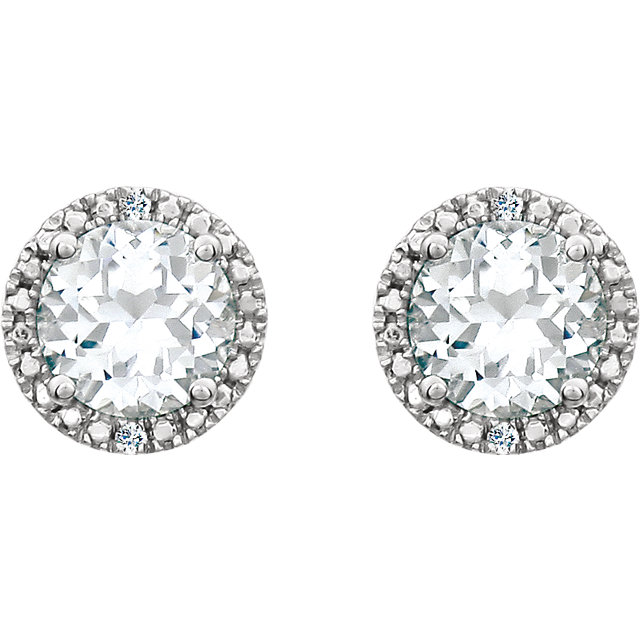 Sterling Silver Created White Sapphire & .01 CTW Diamond Earrings
